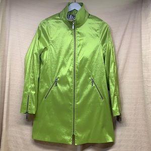 MYCRA PAC ONE Shiny Green Trench Coat Zip No Hood
